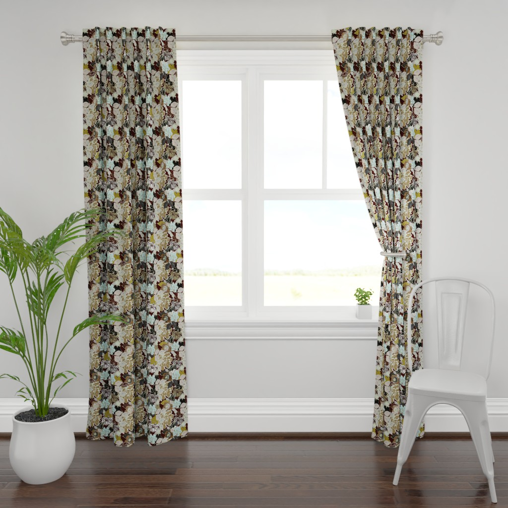 Plymouth Curtain Panel featuring Retro Gardenia Chocolate and Sea Glass by joanmclemore