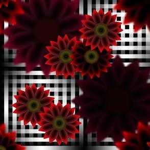 Late Summer Dark Red Sunflowers (Gingham)