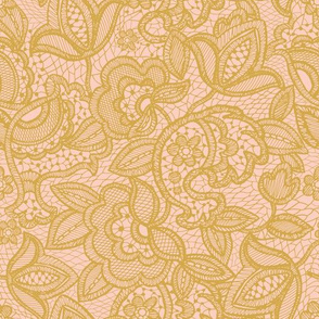 gold on pink lace