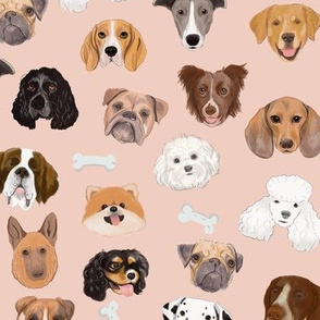 Dog faces on pink (large scale)