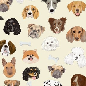 Dog faces on cream (large scale)