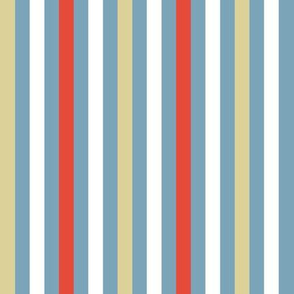 Stripes in ice blue, red, linen, white