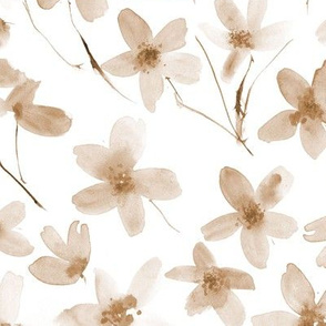 Earthy boho dainty cherry blossom - larger scale beige florals p274