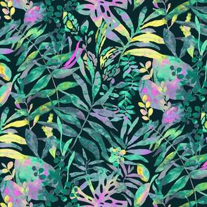 Jungle Vivid - colorful tropical flora - medium scale