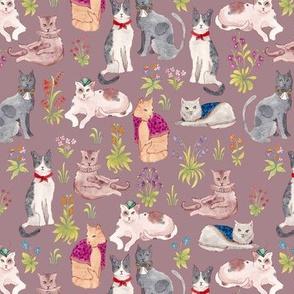 Regal Felines- Mauve