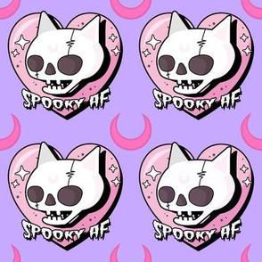 Spooky AF cat pink heart