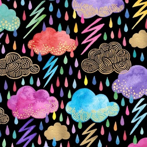 rainbow rainstorm on black