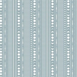 Trust the universe moon phase mudcloth stars and abstract dots nursery moody blue SMALL flipped