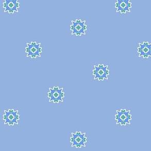 Blue Flower Dots On Blue