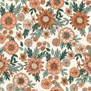 seventies floral fabric - vintage inspired 70s retro design