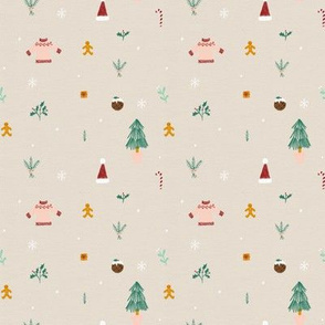 Small Christmas Pattern 01 Beige