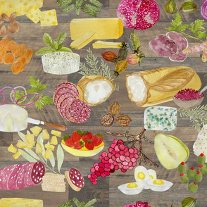 charcuterie lunch anyone-cheese fruits veggies salumeria nuts yellow green orange red tan on wooden board