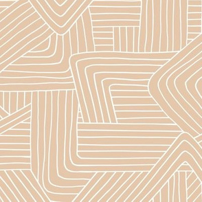 Little Maze stripes minimal Scandinavian grid style trend abstract geometric print camel beige sand white