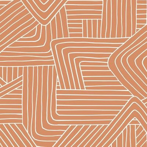 Little Maze stripes minimal Scandinavian grid style trend abstract geometric print burnt orange sienna terracotta