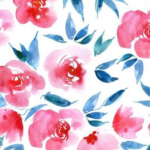 Parisian rose garden - watercolor flowers for modern home decor bedding nursery a307-2
