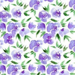 Parisian rose garden in amethyst shades- watercolor flowers for modern home decor bedding nursery a307-5