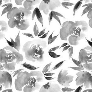 Noir Parisian rose garden - grey watercolor flowers for modern home decor bedding nursery a307-6