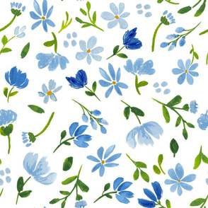 blue watercolor floral pattern