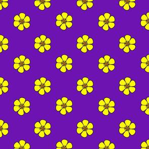 Yellow flowers on purple