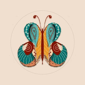 Embroidery template folk art butterfly 4