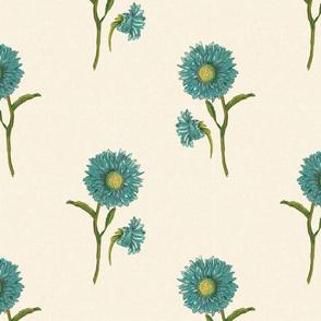 FF pat 9 large scale blue floral classic textile design floral block print vintage inspired vintage style cottage core terriconraddesigns