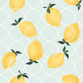 Little lemons on mint 8x8 inch