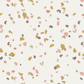 Retro terrazzo little spots and speckles in multi color trendy marble nursery texture blush ochre gray on sand