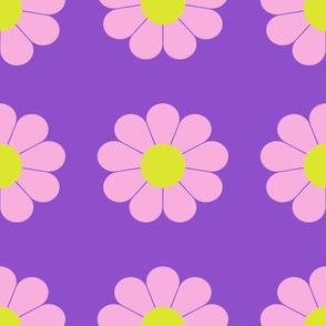 Groovy 1960s  Pink Flowers on Purple Background