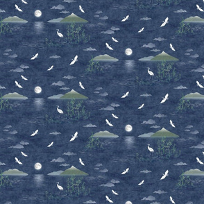 Moonrise with Cranes and Bamboo (small scale)   Night sky, moon fabric, bird fabric, seascape with mountains, cloud fabric, water fabric, lake scene.