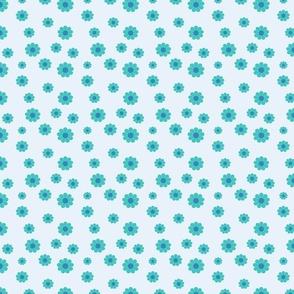 Flowers 60s Design Scattered blue teal