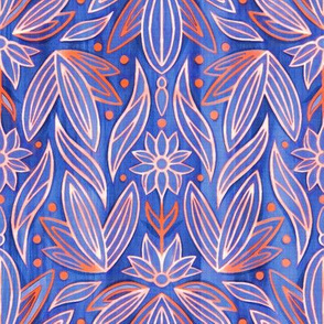 Rococo Cobalt & Coral Art Deco - Small Scale
