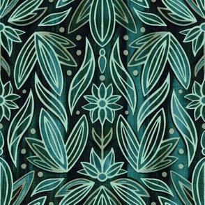 Rococo Sage & Dark Green Art Deco - Small Scale
