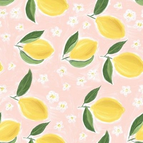 Lemons on pink - rotated
