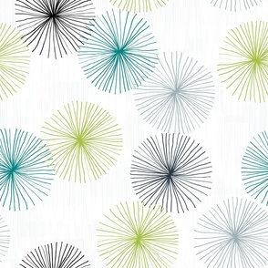 Dandelions M+M Confetti Teal Lime by Friztin