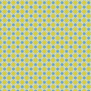 Fertile Land - Ethno Slavic Symbol Folk Pattern - Orepey Sown Field - Obereg Ornament - Yellow Blue White - 2 Smaller Scale