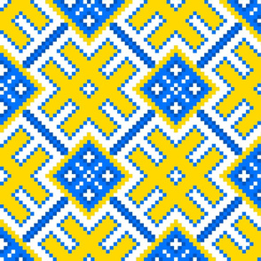 Fertile Land - Ethno Slavic Symbol Folk Pattern - Orepey Sown Field - Obereg Ornament - Yellow Blue White - Large Scale