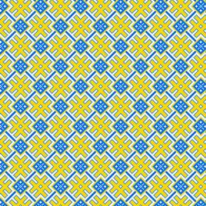 Fertile Land - Ethno Slavic Symbol Folk Pattern - Orepey Sown Field - Obereg Ornament - Yellow Blue White - Small Scale