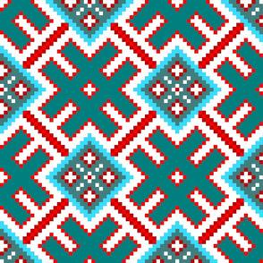 Fertile Land - Ethno Slavic Symbol Folk Pattern - Orepey Sown Field - Obereg Ornament - Cyan Teal Green Blue Scarlet Red White - Large Scale - Christmas Color