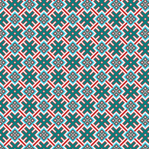 Fertile Land - Ethno Slavic Symbol Folk Pattern - Orepey Sown Field - Obereg Ornament - Cyan Teal Green Blue Scarlet Red White - Small Scale - Christmas Color