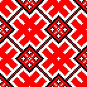 Fertile Land - Ethno Slavic Symbol Folk Pattern - Orepey Sown Field - Obereg Ornament - White Scarlet Red Black - Large Scale