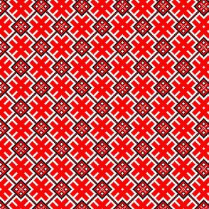Fertile Land - Ethno Slavic Symbol Folk Pattern - Orepey Sown Field - Obereg Ornament - White Scarlet Red Black - Middle Scale