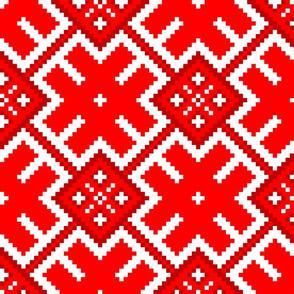 Fertile Land - Ethno Slavic Symbol Folk Pattern - Orepey Sown Field - Obereg Ornament - Scarlet Red White - Large Scale