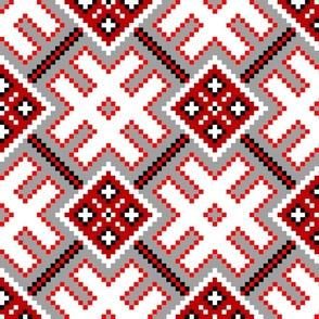Fertile Land - Ethno Slavic Symbol Folk Pattern - Orepey Sown Field - Obereg Ornament - Gray Red White Black - Large Scale