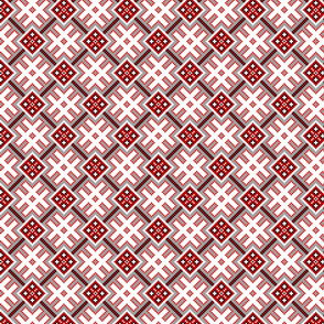 Fertile Land - Ethno Slavic Symbol Folk Pattern - Orepey Sown Field - Obereg Ornament - Gray Red White Black - Small Scale