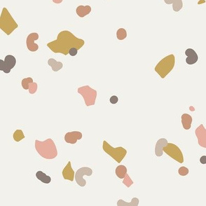 Retro terrazzo little spots and speckles in multi color trendy marble nursery texture blush ochre gray on sand LARGE