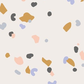 Retro terrazzo little spots and speckles in multi color trendy marble nursery texture sand ochre lilac peach blush LARGE