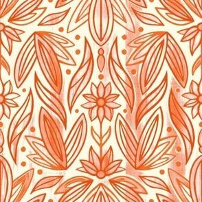 Rococo Peachy Orange Art Deco - Small Scale