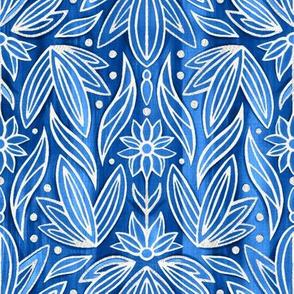 Rococo Art Deco Demask - Sliver Blue - Small Scale