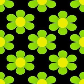 1960's Modern Lime Green Flowers on Black