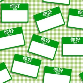 Scattered Chinese 'hello my name is' nametags - green on light green gingham